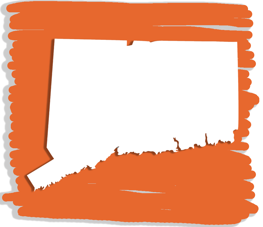 The shape of the state of Connecticut